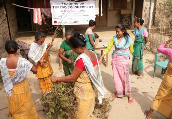 Women members during a training programme on natural dyeing